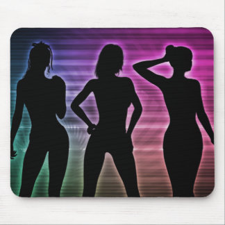 Beach Party Silhouette of Women Standing in Bikini Mouse Pad