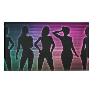 Beach Party Silhouette of Women Standing in Bikini Name Tag
