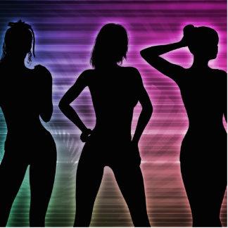 Beach Party Silhouette of Women Standing in Bikini Photo Sculpture Badge