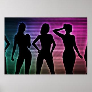 Beach Party Silhouette of Women Standing in Bikini Poster