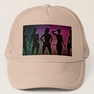 Beach Party Silhouette of Women Standing in Bikini Trucker Hat