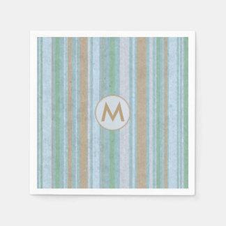 Beach Party Stripes Custom Monogram Disposable Serviettes