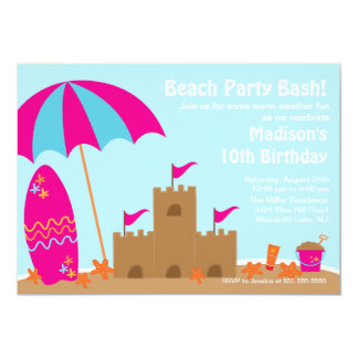 Beach Party Surfboard Swimming Birthday Invitation