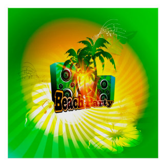Beach party, tropical design with palm trees poster