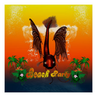 Beach party with funny, mystical  fish poster