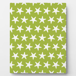 Beach pattern green white stars plaques
