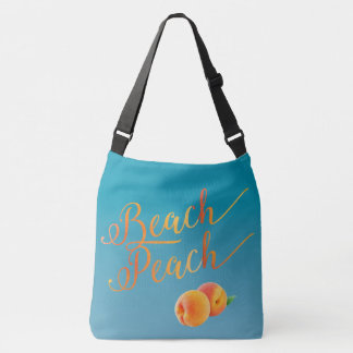 Beach Peach Ocean Water Blue Tropical Vacation Crossbody Bag