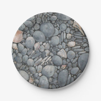 Beach Pebbles Rocks River 7 Inch Paper Plate
