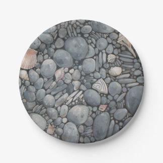 Beach Pebbles Rocks River Paper Plate