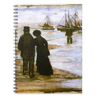 Beach People Walking & Boats Van Gogh Fine Art Notebooks
