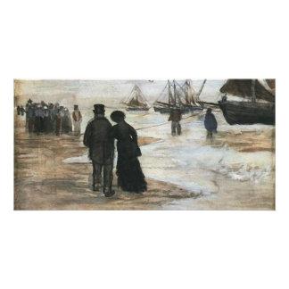 Beach, People Walking & Boats Van Gogh Fine Art Photo Card Template