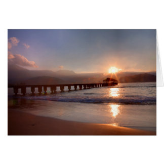 Beach pier at sunset, Hawaii Card