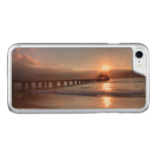 Beach pier at sunset, Hawaii Carved iPhone 7 Case