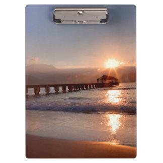 Beach pier at sunset, Hawaii Clipboard
