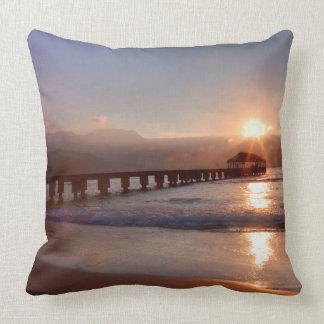 Beach pier at sunset, Hawaii Cushion