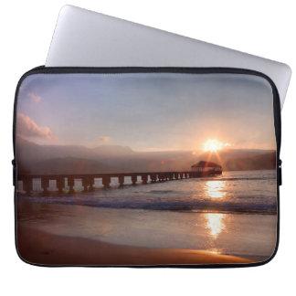 Beach pier at sunset, Hawaii Laptop Sleeve