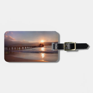 Beach pier at sunset, Hawaii Luggage Tag