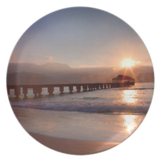 Beach pier at sunset, Hawaii Party Plates
