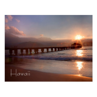 Beach pier at sunset, Hawaii Postcard