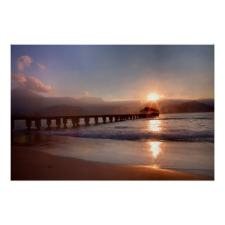 Beach pier at sunset, Hawaii Poster