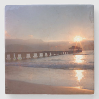 Beach pier at sunset, Hawaii Stone Beverage Coaster