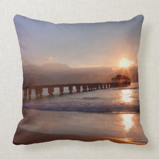 Beach pier at sunset, Hawaii Throw Pillow