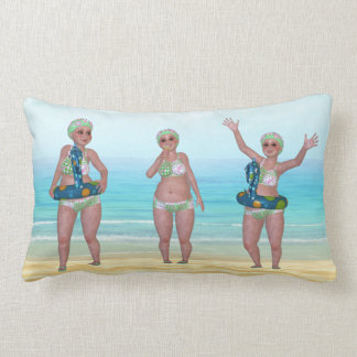 Beach Pillow with Funny Bathing Beauty