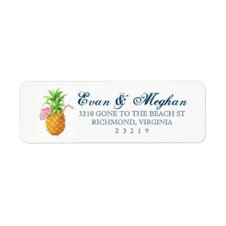 Beach Pineapple Customizable Label Return Address Label
