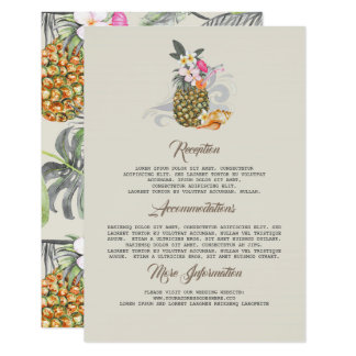 Beach Pineapple Wedding Information Guest Card