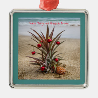 Beach Pineapple With Red Christmas Ornament