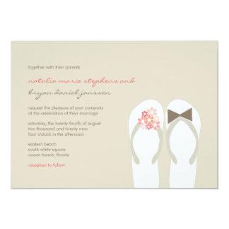 Beach Pink Flip Flops Summer Chic Wedding Invite