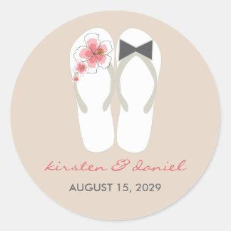 Beach Pink Hibiscus Flip Flops Wedding Stickers