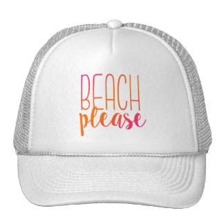 Beach Please | Pink and Orange Ombre Trucker Hat