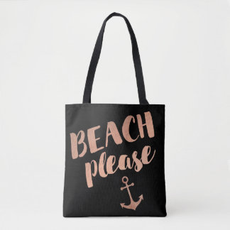 beach please rose gold calligraphy tote bag