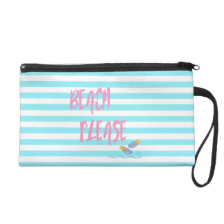 Beach Please Tropical Summer Vacation Cool Pink Wristlet