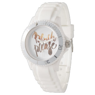 BEACH PLEASE, WATCH, photo with funny quote Wristwatch