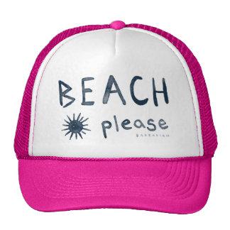 BEACH PLEASE Watercolor Beachy Quote Cap