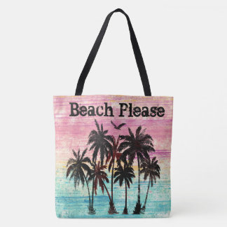 Beach please watercolor palm trees and beach tote bag
