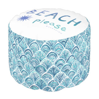 BEACH PLEASE Watercolor Quote *Ombre* Pouf