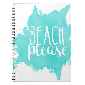 Beach Please White Notebook