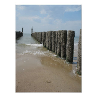 Beach Poles and Sea Photo Poster