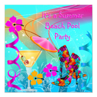 Beach Pool Party Summer Hot Pink Teal 13 Cm X 13 Cm Square Invitation Card