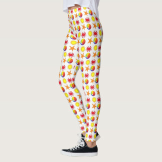 Beach Print Beachball Crab Sun Starfish Summer Leggings