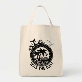 Beach Quote Seize the Day Pun or Personalized Text Tote Bag