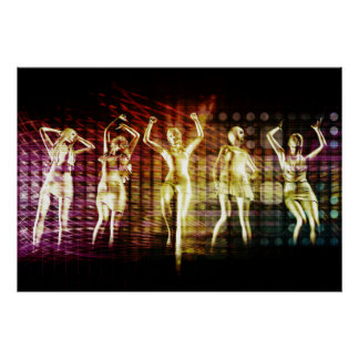 Beach Rave Party with Disco Dancing Girls Poster