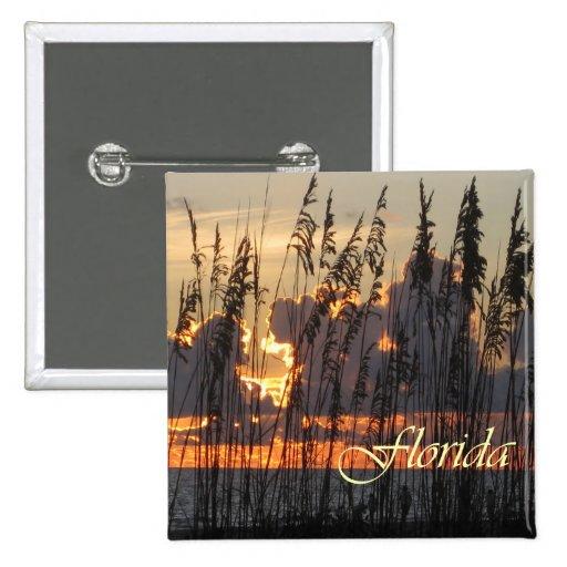 Beach Reeds Sunset Button