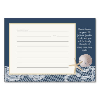 Beach Romance Recipe Card Navy Blue