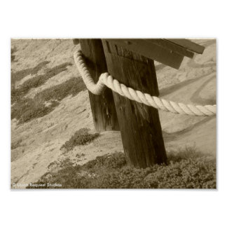 Beach Rope Fence - Sepia Poster