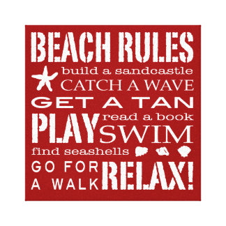 Beach Rules By the Seashore Bold Red & White Canvas Print