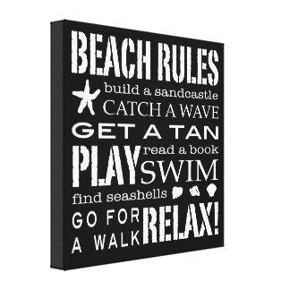 Beach Rules By the Seashore Crisp Black & White Gallery Wrapped Canvas